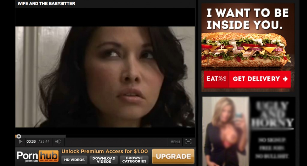 Eat24 porn banner ad - sandwich wants to be inside you