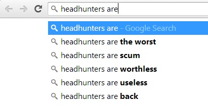 google search suggestions for headhunter
