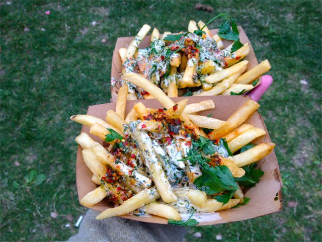 Yes, Chimichurri Fries are totally a thing. Photo: Jay Barmann/GrubStreet