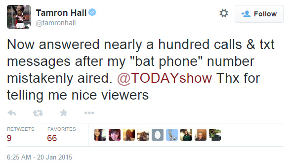 tamron hall phone number tweet