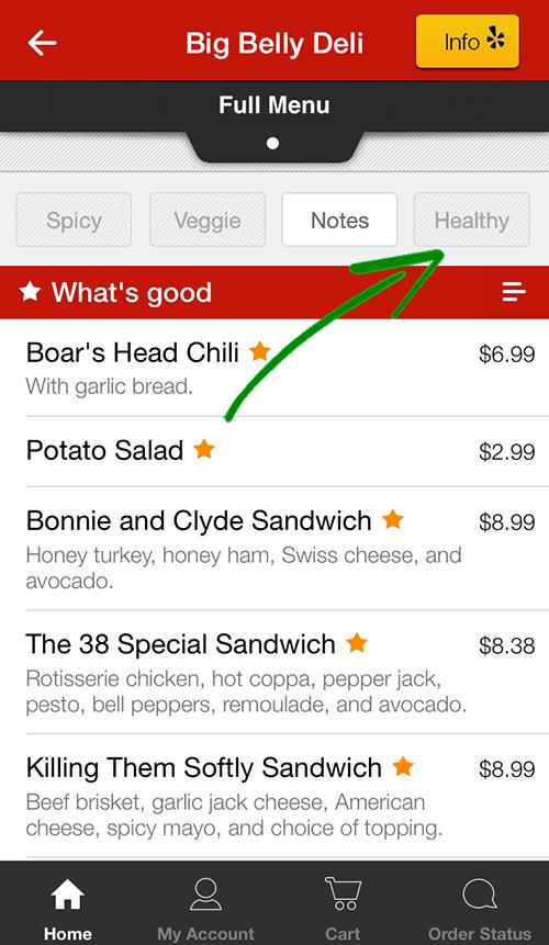 screenshot of eat24 menu filters