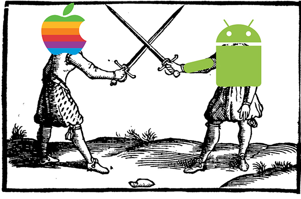 An Apple Logo and an Android logo are fencing