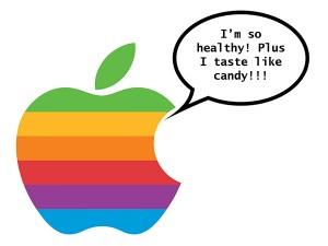 "An apple logo saying, ""I'm so healthy"""